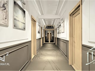 Korytarz w obiekcie hotelowym Trzęsacz Wkwadrat Architekt Wnętrz Toruń Klasyczny korytarz, przedpokój i schody Płyta MDF Brązowy