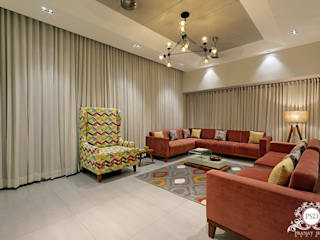 Residential Bungalow in Garden City, Ankleshwar:  Living room by Pranay Shah Designs,