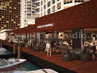360 Panoramic Water side Restaurant Exterior & Interior View of Virtual Reality Real Estate Companies by Architectural Modeling Firm, New York - USA Yantram Architectural Design Studio Klasik