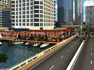 360 Panoramic Water side Restaurant Exterior & Interior View of Virtual Reality Real Estate Companies by Architectural Modeling Firm, New York - USA Modern Evler Yantram Architectural Design Studio Modern