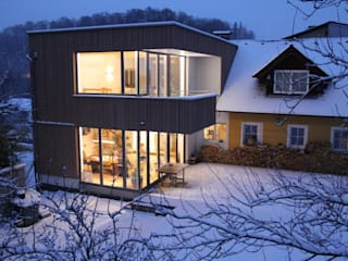 Holz-Aluminium Verglasung für Anbau Schmidinger Wintergärten, Fenster & Verglasungen Moderner Wintergarten Holz Grau
