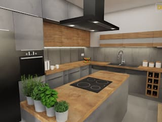 Projekt kuchnia Nowoczesna kuchnia od Dekoreveli Pracownia Projektowa Nowoczesny