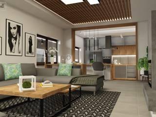 Projekt salon parter klatka schodową i drugi salon na piętrze : styl , w kategorii Salon zaprojektowany przez Dekoreveli Pracownia Projektowa,