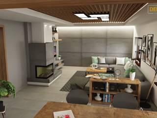 Projekt salon parter klatka schodową i drugi salon na piętrze Nowoczesny salon od Dekoreveli Pracownia Projektowa Nowoczesny