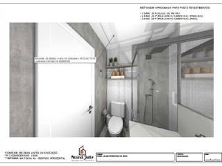 PROJETOS ONLINE: Banheiros  por Nainá Julio  - Designer de Interiores,