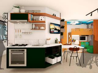 Cocinas pequeñas de estilo  de Mariê Arquitetura, Moderno