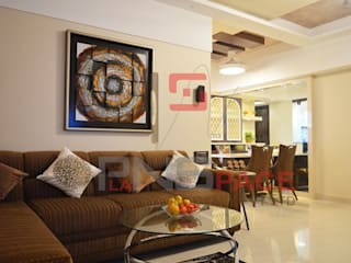 Home Interior Project @ Kandivali Modern living room by Planspace Designs Globally Pvt Ltd Modern