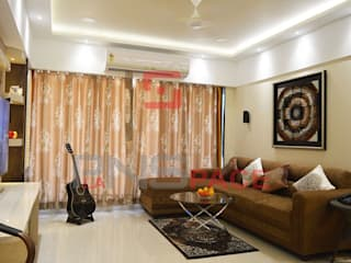 Home Interior Project @ Kandivali:  Living room by Planspace Designs Globally Pvt Ltd,