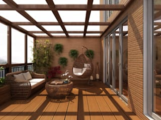 Sala de jantar e espaço varanda de uma vivenda no Gerês Alpha Details Varandas