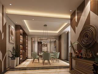 Sala de jantar e Hall de entrada - T2 Geneve Alpha Details Corredores, halls e escadas modernos