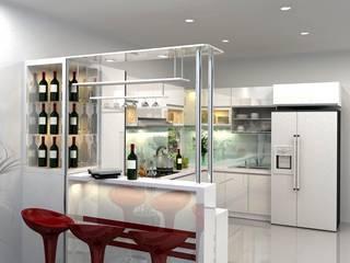 Thiết kế nhà bếp đẹp linh hoạt tiết kiệm:  Tủ bếp by TỦ BẾP GỖ VIỆT, Hiện đại