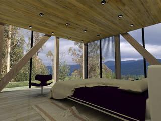 CASA VISTA VOLCAN: Dormitorios pequeños de estilo  por Vetas Sur, Moderno