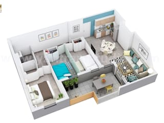 Residential Apartment Floor Plan Design Companies by 3D Animation Studio Oleh Yantram Architectural Design Studio Klasik