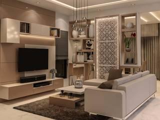Prestige Silver Oak Modern Living Room by De Panache - Interior Architects Modern