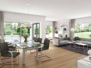 Einfamilienhäuser in Weßling, Landkreis Starnberg ECOLINE Holzsystembau GmbH & Co. KG Moderne Wohnzimmer