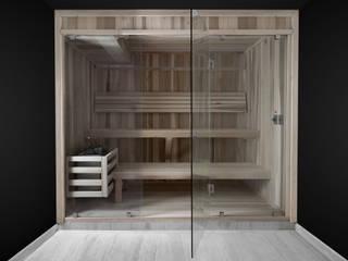 Baño Sauna frente de cristal Baños rústicos de AQUASTEAM BAÑOS SAUNA Rústico