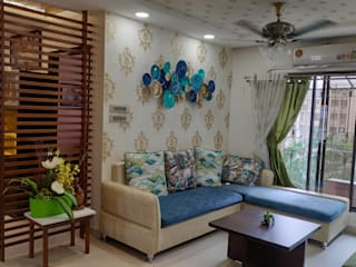 3BHK 1200 SQ.FT FLAT IN VASAI:  Living room by HARDIK PATIL ARCHITECTS,