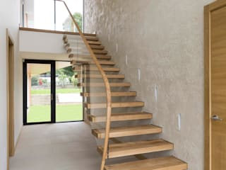 7332 - Oak Cantilever Staircase โดย Bisca Staircases คลาสสิค