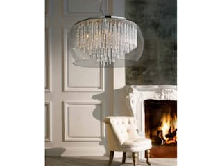 Designer pendant light REGO crystal ceiling light with crystals and glass lamp shade 모던스타일 다이닝 룸 by Luxury Chandelier 모던