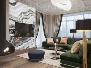 غرفة المعيشة تنفيذ Дизайн студия 'Дизайнер интерьера № 1',