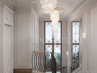 Прихожая и коридоры в коттедже : Лестницы в . Автор – Дизайн студия 'Дизайнер интерьера № 1',