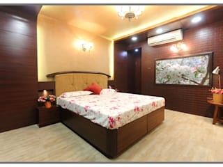 Elegant interior for 2 BHK Flat in Supreme Green Wood NIBM Pune:  Small bedroom by AARAYISHH (Mumbai & Pune),Classic