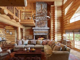 Оформление деревянного дома для постоянного проживания: Гостиная в . Автор – SJull Design,
