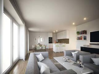 Mühlanger 22|24: Exklusive Wohnungen in Dinkelscherben bei Augsburg ECOLINE Holzsystembau GmbH & Co. KG Moderne Wohnzimmer