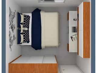 Quarto do casal Ferreira Quartos minimalistas por Shara Andreas Arquiteta Minimalista