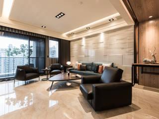 藍色大宅-Turkey blue 现代客厅設計點子、靈感 & 圖片 根據 澄易設計 現代風
