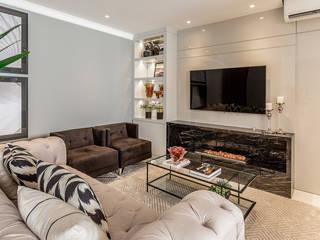 Apartamento Moderno com pitadas clássicas Salas multimídia modernas por Juliana Agner Arquitetura e Interiores Moderno