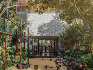 Condos Jaabin - Tulum: Gimnasios de estilo  por Obed Clemente Arquitectura,
