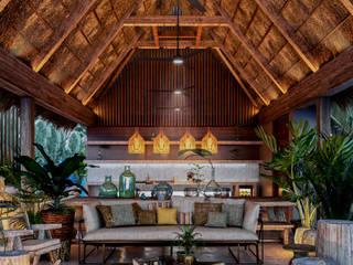Condos Jaabin - Tulum: Salas de estilo  por Obed Clemente Arquitectura,