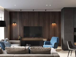 """Дизайн проект квартиры, ЖК """"Headliner"""" (Хедлайнер): Гостиная в . Автор – Дизайн студия 'Декотренд',"""