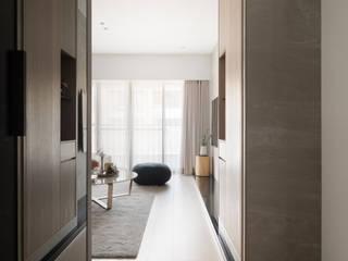 【南港】– 林宅 現代風玄關、走廊與階梯 根據 六木設計 現代風
