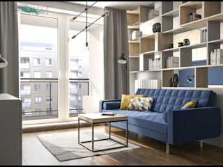 GACKOWSKA DESIGN Modern living room Blue