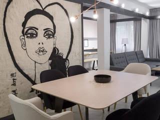 Departamento LT Salones minimalistas de T + T arquitectos Minimalista
