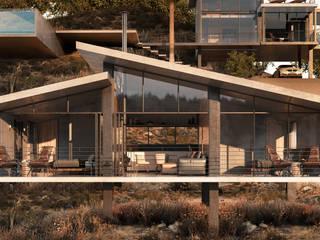 Cabaña doble - Exterior Hoteles de estilo minimalista de HC Arquitecto Minimalista Hierro/Acero