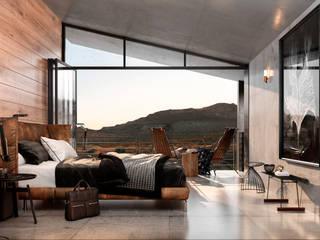 Cabaña doble - Interior Hoteles de estilo minimalista de HC Arquitecto Minimalista Hierro/Acero
