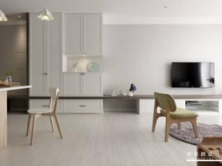 橙果創意國際設計 Skandinavische Wohnzimmer Weiß