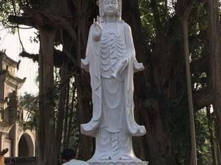 Tượng Phật Quan Âm Hiên, sân thượng phong cách châu Á bởi CÔNG TY TNHH ĐÁ TƯ NHIÊN THIÊN AN Châu Á