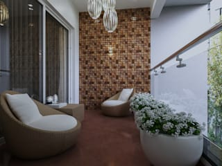 Bangalore-3bhk home  Interior :  Balcony by De Panache ,Modern