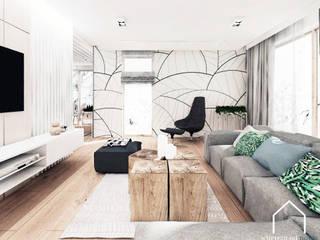 Mieszkanie pod Krakowem Skandynawski salon od Wnetrza od NOWA Skandynawski