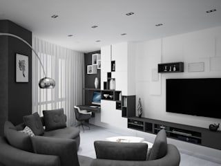 Квартира в Мытищах. Гостиная в стиле минимализм от Студия дизайна 'СИМФОНИЯ' Минимализм