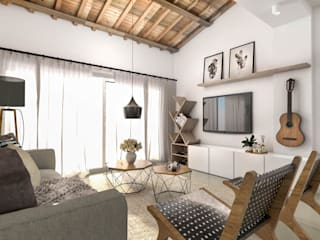 Living room by Bhavana, Scandinavian Engineered Wood Transparent