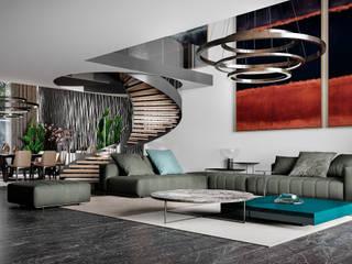Casa Quiroz Salones minimalistas de HC Arquitecto Minimalista