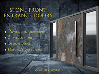 Stone Front Contemporary Entrance Doors by Camel Glass Modern