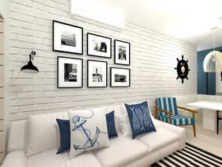 Decoração Navy (ap.praia) Talita Kvian Salas de estar rústicas Tijolo Branco