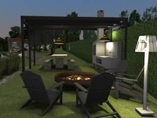 Área social externa - Churrasqueira: Jardins de Inverno  por Form Arquitetura e Design,Campestre