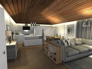 Vista do open space: Salas de estar  por Form Arquitetura e Design,Campestre